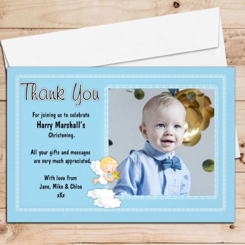 10 Personalised Christening Baptism Thank you PHOTO Cards N186 Angel on a cloud
